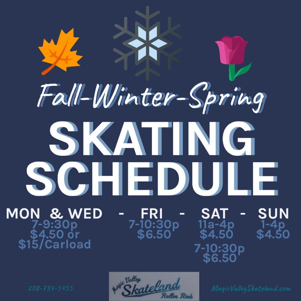 Fall-Winter-Spring Schedule: Mon/Wed: 7-9:30 pm, $4.50 or $15 per carload. Fri/Sat: 7-10:30 pm, $6.50 Sat: 11 am-4 pm, $4.50 Sun: 1-4 pm, $4.50